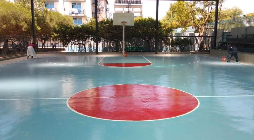epoxy lantai lapangan basket